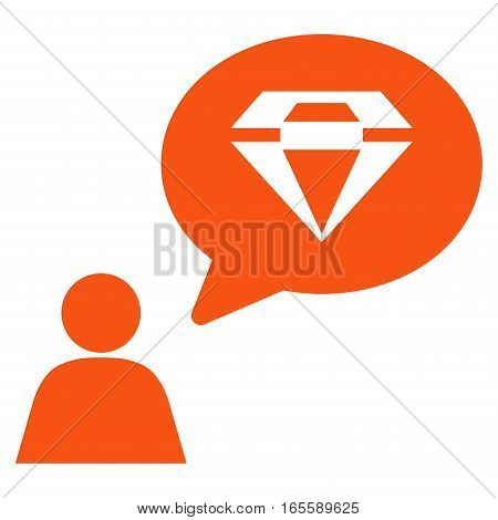 Diamond Thinking Person vector icon. Flat orange symbol. Pictogram is isolated on a white background. Designed for web and software interfaces.