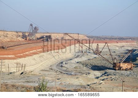 crane working in the pit for ore mining