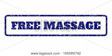 Navy Blue rubber seal stamp with Free Massage text. Vector tag inside rounded rectangular frame. Grunge design and unclean texture for watermark labels. Horisontal emblem on a white background.
