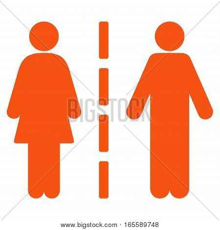 Divorce Line vector icon. Flat orange symbol. Pictogram is isolated on a white background. Designed for web and software interfaces.