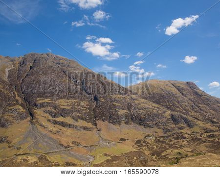 Glencoe Scotland UK famous tourist destination Scottish glen and mountains in Lochaber Scottish Highlands in spring