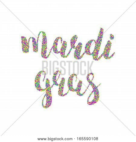 Mardi Gras calligraphic lettering. Fat tuesday typography