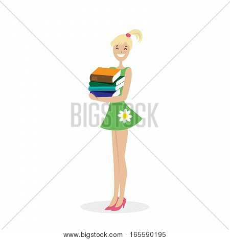 Schoolgirl or student standing with a stack of books in his hands. Vector, illustration EPS10