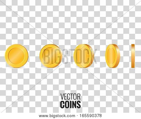 Vector coins in different shapes for animation