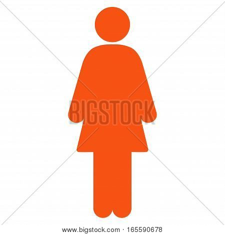 Female vector icon. Flat orange symbol. Pictogram is isolated on a white background. Designed for web and software interfaces.