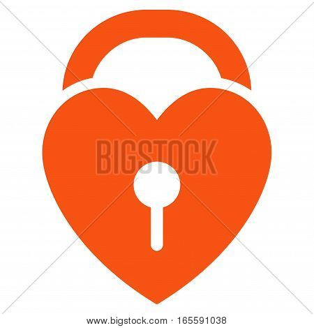 Love Heart Lock vector icon. Flat orange symbol. Pictogram is isolated on a white background. Designed for web and software interfaces.
