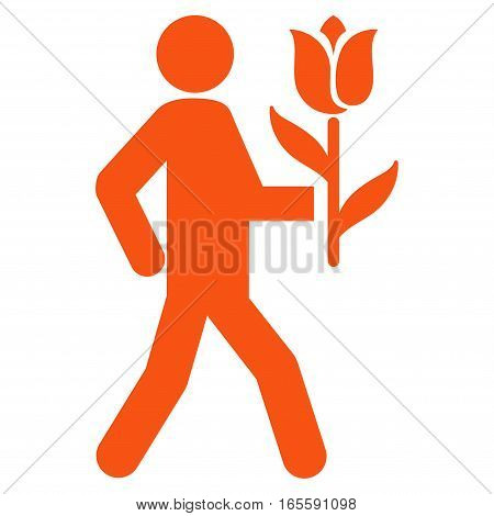 Lover With Flower vector icon. Flat orange symbol. Pictogram is isolated on a white background. Designed for web and software interfaces.
