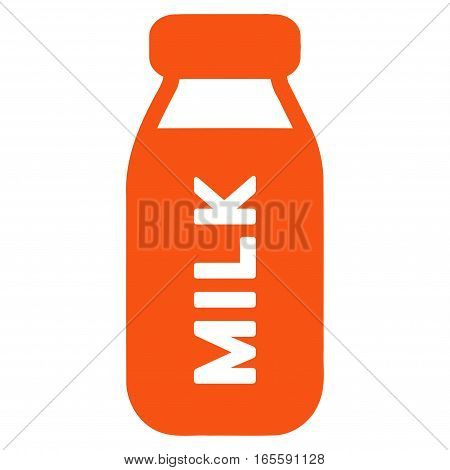 Milk Bottle vector icon. Flat orange symbol. Pictogram is isolated on a white background. Designed for web and software interfaces.