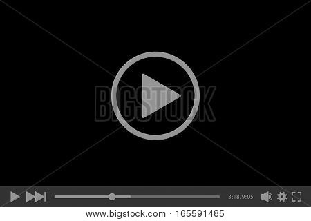 Video player for web, vector illustration. Dark video player