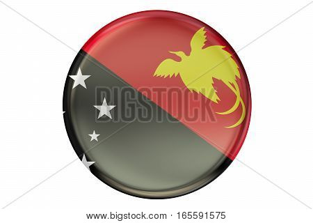 Badge with flag of Papua New Guinea 3D rendering isolated on white background