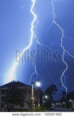 Very close dangerous and very massive lightning strike in a neighborhood