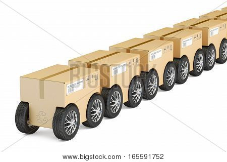 Row from parcels with wheels fast delivery concept. 3D rendering