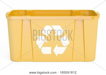 Yellow recycling bin 3D rendering isolated on white background