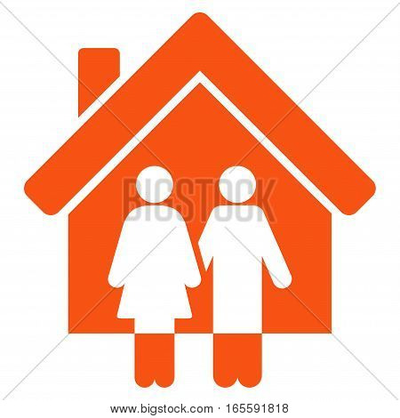 Property vector icon. Flat orange symbol. Pictogram is isolated on a white background. Designed for web and software interfaces.