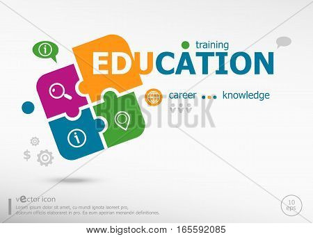 Education Word Cloud Concept On Colorful Jigsaw Puzzle.