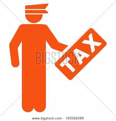 Tax Officer vector icon. Flat orange symbol. Pictogram is isolated on a white background. Designed for web and software interfaces.