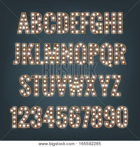 Vector typeface with bright light bulbs. Retro cinema and show alphabet