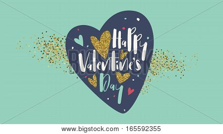 Valentines day lettering postcard, banner and vector holiday background. Easy editable for Your design.
