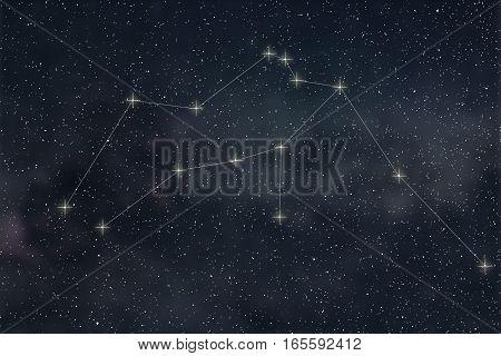 Aquarius Constellation. Zodiac Sign Aquarius Constellation Lines