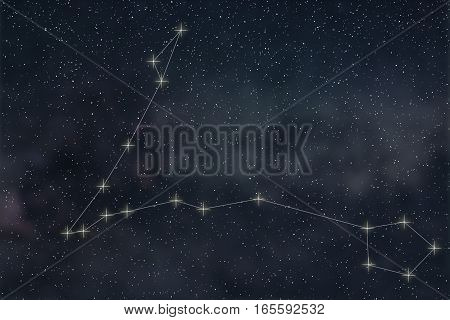 Pisces Constellation. Zodiac Sign Pisces Constellation Lines