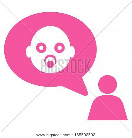 Baby Thinking Person vector icon. Flat pink symbol. Pictogram is isolated on a white background. Designed for web and software interfaces.