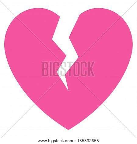 Broken Heart vector icon. Flat pink symbol. Pictogram is isolated on a white background. Designed for web and software interfaces.