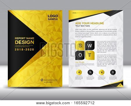 Business brochure flyer template in A4 size, Gold Cover design, Annual report, magazine ads, catalog layout, vector illustration