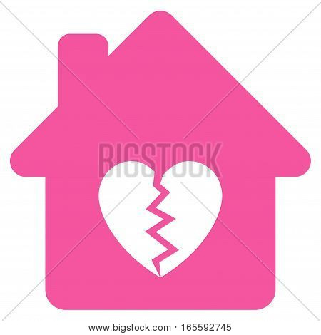 Divorce House Heart vector icon. Flat pink symbol. Pictogram is isolated on a white background. Designed for web and software interfaces.