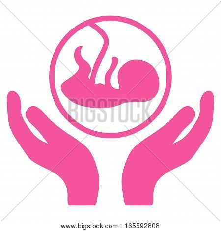 Embryo Care Hands vector icon. Flat pink symbol. Pictogram is isolated on a white background. Designed for web and software interfaces.