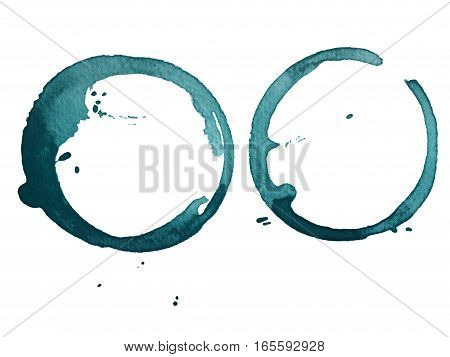 blue cup stain isolated on white paper background