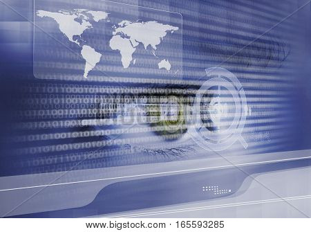Close up of human eye on digital binary background