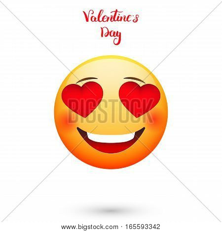 Valentines Day emoticon in cartoon style with hearts