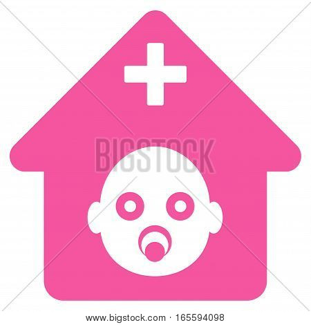 Prenatal Hospital vector icon. Flat pink symbol. Pictogram is isolated on a white background. Designed for web and software interfaces.