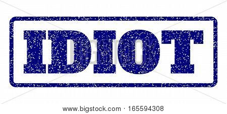 Navy Blue rubber seal stamp with Idiot text. Vector message inside rounded rectangular shape. Grunge design and dust texture for watermark labels. Horisontal emblem on a white background.