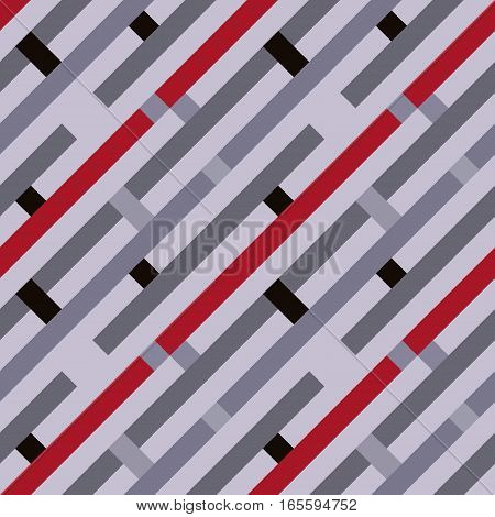 Seamless geometric stripy pattern. Texture of diagonal strips, lines and rectangles. Gray, red, black colored background. Labyrinth theme. Vector