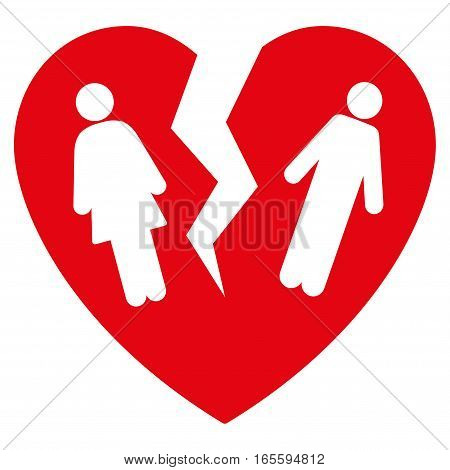 Broken Family Heart vector icon. Flat red symbol. Pictogram is isolated on a white background. Designed for web and software interfaces.