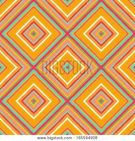 Striped diagonal rectangle seamless pattern. Square rhombus lines with torn paper effect. Ethnic background. Yellow, pink, orange, blue, white colors. Vector