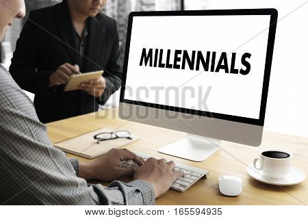 Millennials Concept Business Team Hands At Work With Financial Reports And A Laptop