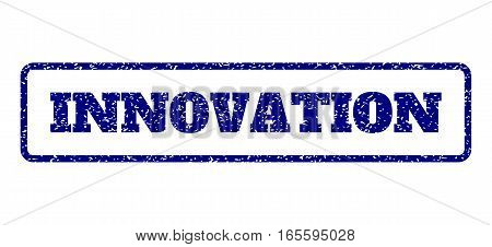 Navy Blue rubber seal stamp with Innovation text. Vector caption inside rounded rectangular frame. Grunge design and dirty texture for watermark labels. Horisontal sign on a white background.