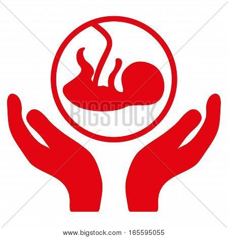 Embryo Care Hands vector icon. Flat red symbol. Pictogram is isolated on a white background. Designed for web and software interfaces.