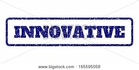 Navy Blue rubber seal stamp with Innovative text. Vector caption inside rounded rectangular frame. Grunge design and dust texture for watermark labels. Horisontal sticker on a white background.