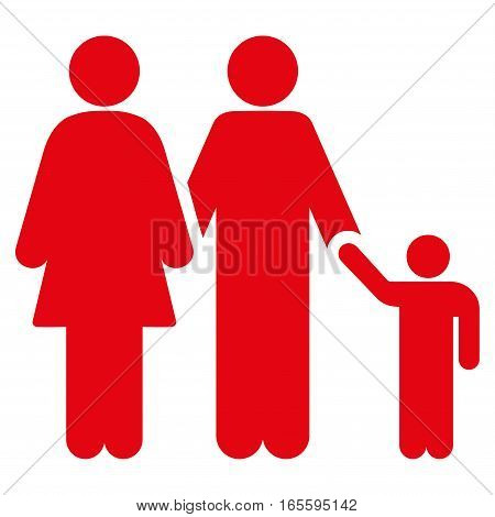 Family vector icon. Flat red symbol. Pictogram is isolated on a white background. Designed for web and software interfaces.