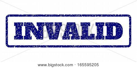 Navy Blue rubber seal stamp with Invalid text. Vector tag inside rounded rectangular banner. Grunge design and dirty texture for watermark labels. Horisontal emblem on a white background.