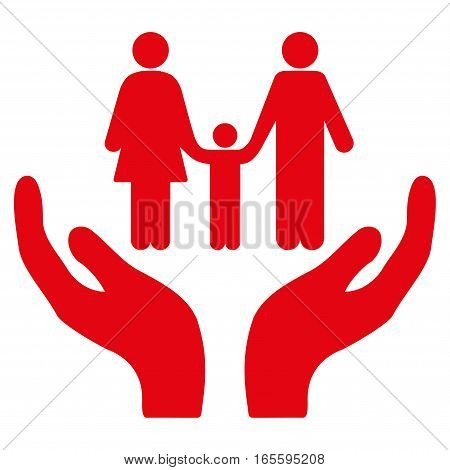 Family Care Hands vector icon. Flat red symbol. Pictogram is isolated on a white background. Designed for web and software interfaces.