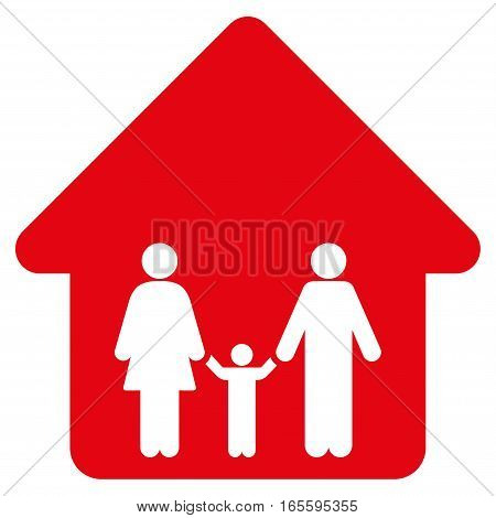 Family Home vector icon. Flat red symbol. Pictogram is isolated on a white background. Designed for web and software interfaces.