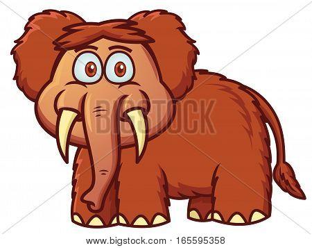 Mammoth Cartoon Illustration Isoalted on White Background