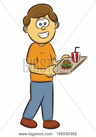Man with Cafeteria Tray of Food Cartoon Illustration Isolated on White