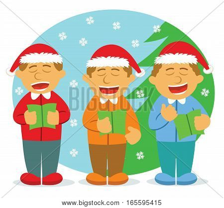 Four Men Choir Singing For Christmas Cartoon Illustration