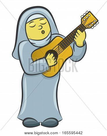 Nun Playing Guitar Cartoon Illustration Isolated on White Background