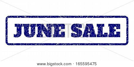 Navy Blue rubber seal stamp with June Sale text. Vector tag inside rounded rectangular banner. Grunge design and dust texture for watermark labels. Horisontal sticker on a white background.